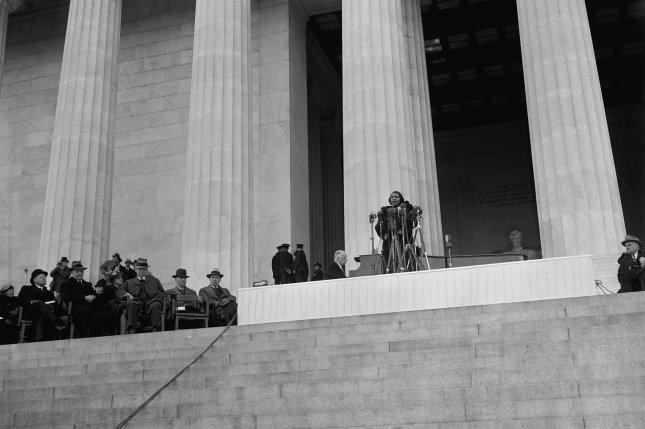 On April 9, 1939, on Easter Sunday, African-American contralto Marian Anderson gave a free open-air concert from the steps of the Lincoln Memorial in Washington to more than 75,000 people after the Daughters of the American Revolution denied her use of Constitution Hall because of her race. File Photo by Harris & Ewing/Library of Congress