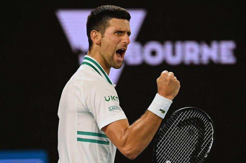 Novak Djokovic (pictured) beat Aslan Karatsev in the men's singles semifinals of the 2021 Australian Open on Thursday at Melbourne Park in Melbourne. Photo by Dean Lewins/EPA-EFE