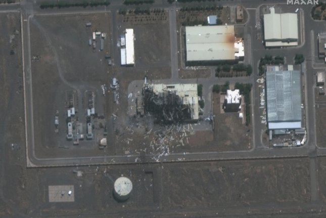 A photo made available by MAXAR Technologies shows a satellite image of a destroyed building of the Natanz uranium enrichment facilities in Iran on July 8. File satellite image courtesy of MAXAR Technologies/EPA-EFE