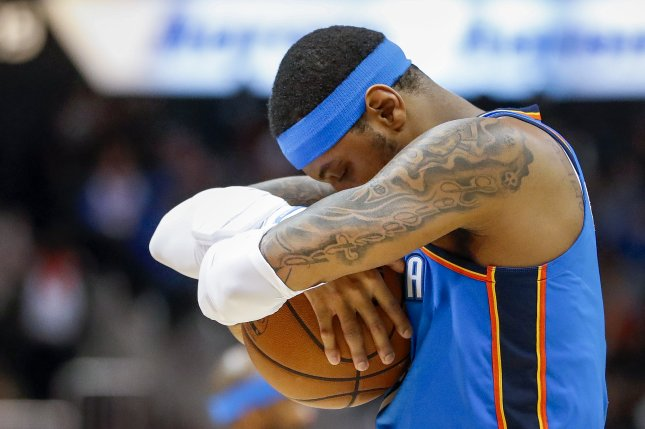 Former Oklahoma City Thunder forward Carmelo Anthony played in 10 games for the Houston Rockets last season. He hasn't found a new NBA team in free agency this off-season. File Photo by Erik S. Lesser/EPA-EFE