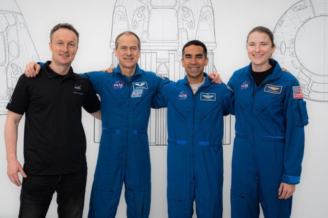 NASA's Crew-3 astronauts Matthias Maurer (L-R), Thomas Marshburn, Raja Chari and Kayla Barron pose for a portrait during preflight training at SpaceX headquarters in Hawthorne, Calif., in June. Photo courtesy of SpaceX