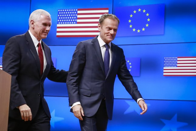 U.S. Vice President Mike Pence (L) and European Council President Donald Tusk (R) leave a brief joint news conference following their meeting in Brussels, Belgium, on Monday. Pence in his statement ensured a continuous close cooperation and partnership with Europe. Photo by Olivier Hoslet/EPA