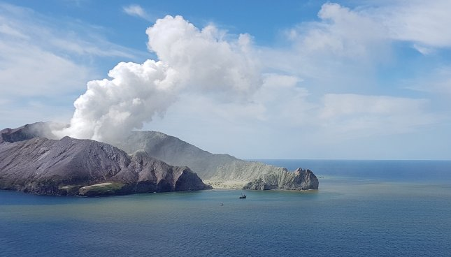 The death toll climbed to 17 on Sunday after another person injured in the volcanic eruption of New Zealand's White Island earlier this month died. Photo courtesy of Auckland Rescue Helicopter Trust/EPA-EFE
