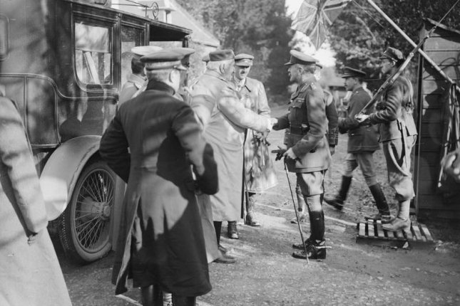 Sir Douglas Haig greeting the King Nicholas I Petrovic of Montenegro at his Chateau at Beauquesne, November 1916. File Photo courtesy Imperial War Museums