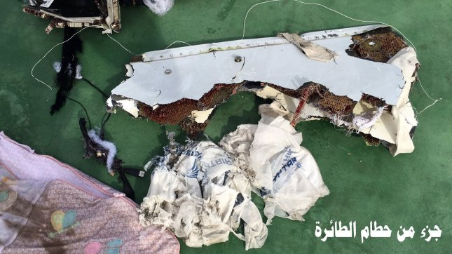 A file handout picture from May 21, 2016, made available by the Egyptian Defence Ministry, shows pieces of a chair from the EgyptAir MS804 flight, which crashed into the Mediterranean Sea on May 19, killing all 66 people on board. Egyptian authorities on December 15, 2016 announced that traces of explosives were found on some of the bodies from the EgyptAir crash. Photo by Egyptian Defence Ministry/European Pressphoto Association