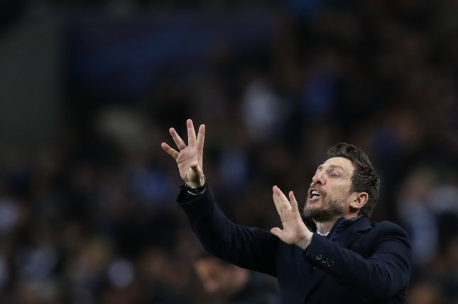 Roma head coach Eusebio Di Francesco was fired Thursday after his team's Champions League round of 16 second-leg loss to Porto on Wednesday in Porto, Portugal. Photo by Jose Coelho/EPA-EFE