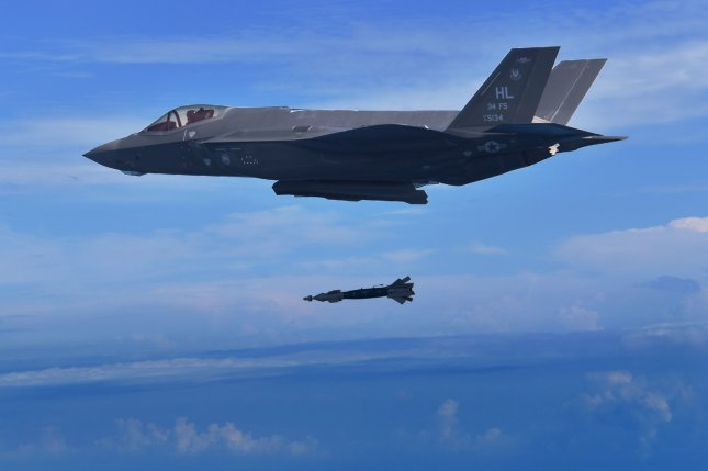 A pilot assigned to the 388th Fighter Wing's 34th Fighter Squadron drops a 250-pound GBU-39 bomb from an F-35A Lightning II on November 7, 2018. Photo courtesy of the U.S. Air Force