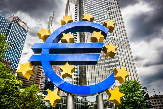 The Euro sign is shown at European Central Bank headquarters in Frankfurt, Germany. (UPI/Shutterstock/canadastock)