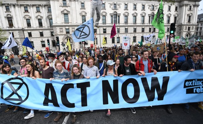 Extinction Rebellion climate change protesters demonstrate in Parliament Square in London. British Parliament declared an environment and climate emergency on Wednesday at the urging of the Labor Party. Photo by Andy Rain/EPA