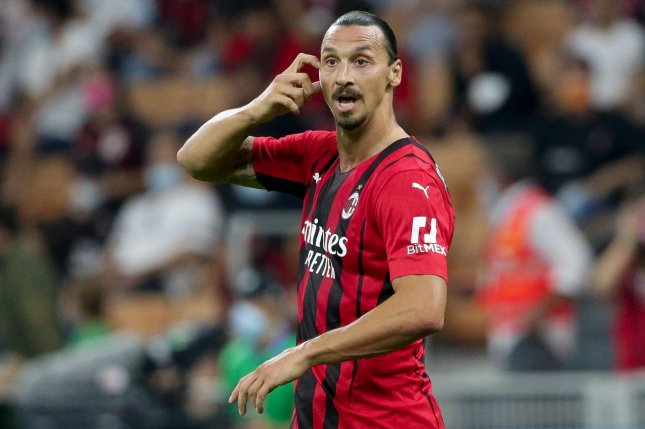 AC Milan's Zlatan Ibrahimovic felt pain in his Achilles tendon Tuesday at a training session in Milan, Italy, and will not play in Wednesday's Champions League game against Liverpool. Photo by Roberto Bregani/EPA-EFE