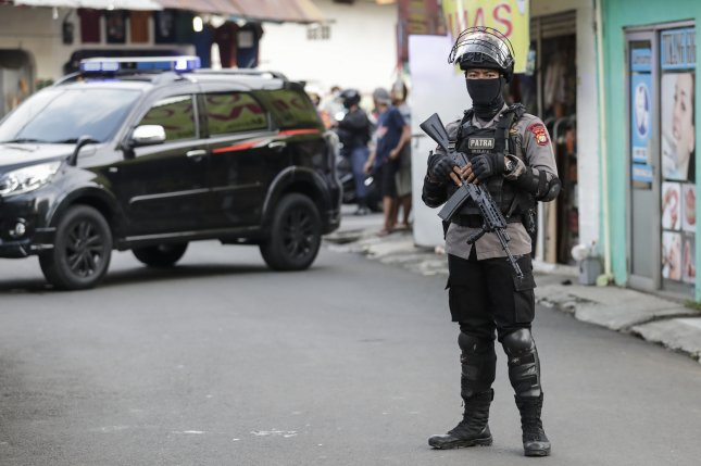 Police in Indonesia are on alert after a suicide bombing at a church in South Sulawesi on Sunday. File Photo by Mast Irham/EPA-EFE