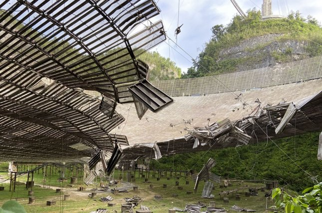 The Arecibo Observatory in Puerto Rico, the largest single-dish radio telescope in the world, was damaged Monday when an auxiliary cable that supports the suspended platform broke. Photo courtesy of the University of Central Florida