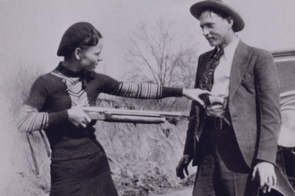 Bonnie Elizabeth Parker and Clyde Chestnut Champion Barrow pose for a picture in 1932. Photo courtesy FBI