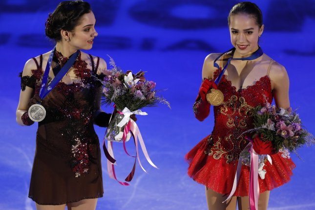 Silver medal winner Evgenia Medvedeva (L) and gold medal winner Alina Zagitova, Russian teammates, pose during the award ceremony for the ladies free skating program at the European Figure Skating Championships in Moscow on January 20. Photo by Sergei Ilnitsky/EPA-EFE