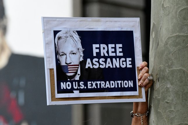 Assange has been held in a British prison since he was removed from London's Ecuadorian Embassy in April. File Photo by Bianca de Marchi/EPA-EFE