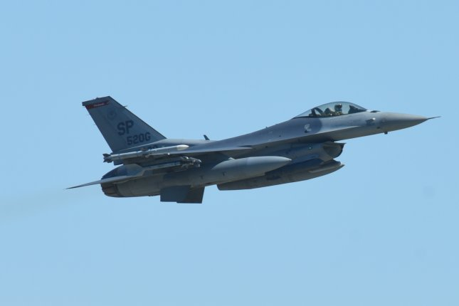 An F-16 Fighting Falcon assigned to the 480th Fighter Squadron takes off in support of BALTOPS and Saber Strike 18 at the 31st Tactical Air Base in Poland in this June 2018 photo. The State Department has approved a possible $634.7 million deal to upgrade Chile's fleet of F-16s. Photo by Christopher S. Sparks/U.S. Air Force