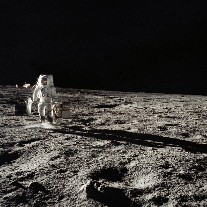 Astronaut Alan Bean walks on the surface of the moon November 19, 1969, as part of Apollo 12. File Photo courtesy of NASA