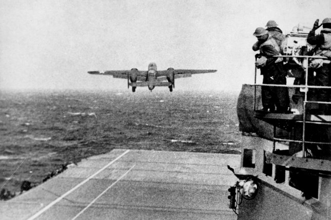 A U.S. Army Air Forces B-25B Mitchell bomber takes off from the USS Hornet (CV-8) aircraft carrier to take part in the first U.S. bombing of Japan on April 18, 1942. The surprise attack, retaliation for the Japanese raid on Pearl Harbor on December 7, 1941, would go down in history as the Doolittle Raid, named after the man who commanded it, Lt. Col. James Doolittle. File Photo by NARA