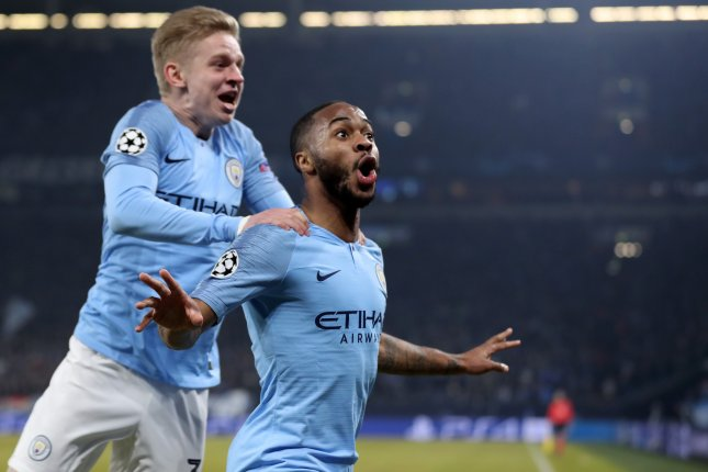 Manchester City's Raheem Sterling (R) scored the opening goal against Real Madrid on Friday. File Photo by Friedemann Vogel/EPA-EFE