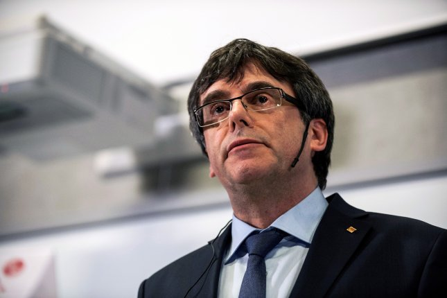 Former Catalan President Carles Puigdemont during a debate at The Political Science Department at the University of Copenhagen in Denmark. Photo by Ricardo Ramirez/EPA
