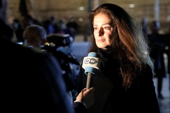 Corinne Vella, sister of murdered journalist Daphne Caruana Galizia, speaks to the press in Valletta, Malta Saturday. Maltese businessman Yorgen Fenech was arraigned in court and charged with complicity in the 2017 murder of journalist Daphne Caruana Galizia. He pleaded not guilty to the charge and others, which include promoting or financing a criminal organization and conspiracy to commit a crime. Caruana Galizia's family has called on the country's prime minister to resign. Photo by Domenic Aquilina/EPA-EFE