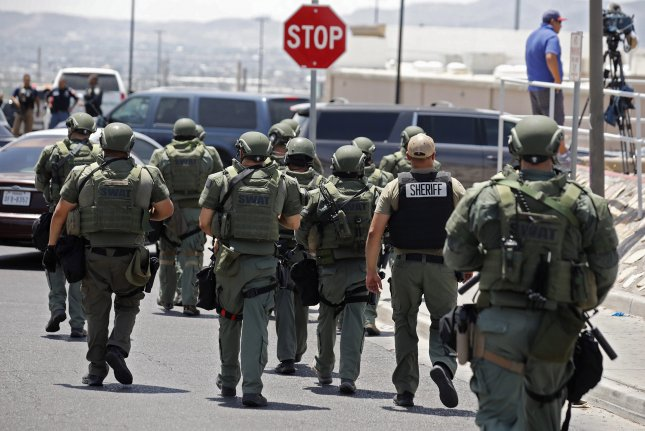 Police officers respond to a shooting at a Walmart in El Paso, Texas, on August 3, 2019, that resulted in the deaths of 23 people. According to FBI data, 2019's 51 hate crime murders was the highest on record. Photo by Ivan Pierre Aguirre/EPA-EFE