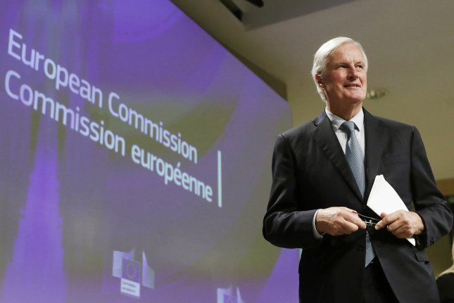 E.U. chief Brexit negotiator Michel Barnier announced Thursday the delay of talks following a COVID-19 diagnosis on his negotiating team. File Photo by Olivier Hoslet/EPA-EFE