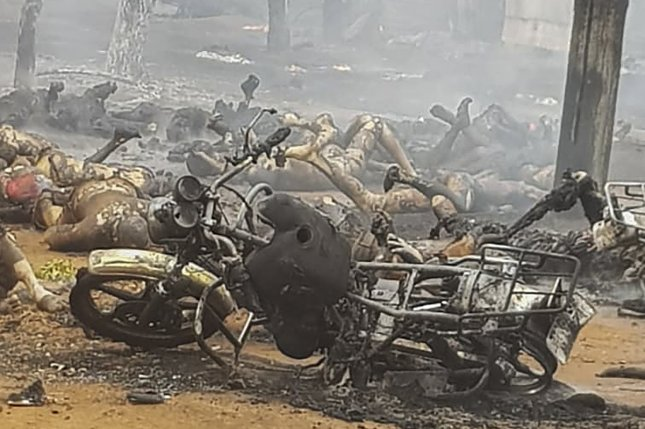 A fuel tanker collided with a motorcycle and exploded in the Morogoro region of Tanzania on Saturday. Photo by EPA