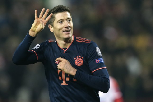 Robert Lewandowski now has 218 goals during his tenure with Bayern Munich after netting four scores in a Champions League win against Red Star Belgrade Tuesday in Belgrade, Serbia. Photo by Andrej Cukic/EPA-EFE