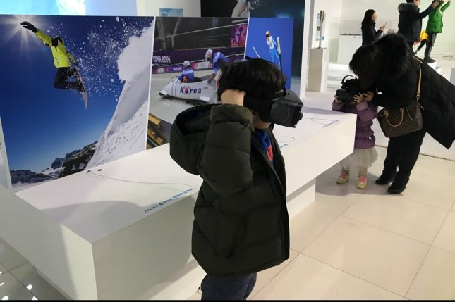 A science exhibition in Daejeon City, South Korea, introduces Olympic sports and scientific principles behind them through virtual reality and augmented reality technologies. Photo courtesy of Park Moon-shik/UPI