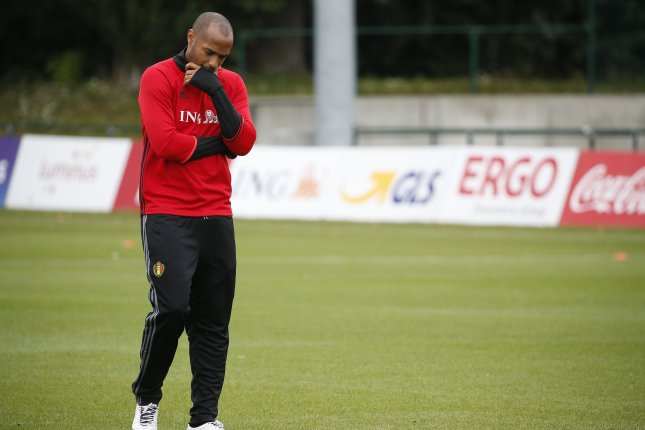 Assistant coach for the Belgian national soccer team, former French soccer player Thierry Henry during a Belgium national soccer team training session in Neerpede near Brussels, Belgium. Photo by Julien Warnand/EPA