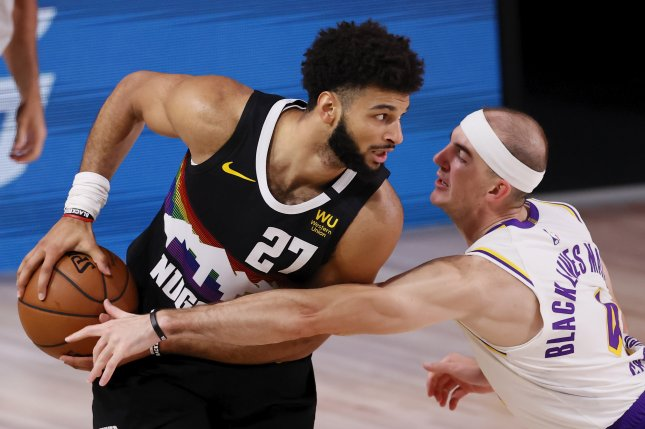 Denver Nuggets guard Jamal Murray (27) suffered the knee injury during Monday's game against the Golden State Warriors. File Photo by Erik S. Lesser/EPA-EFE