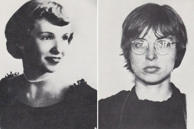 File photos of Diana Oughton in her high school years (left) and mug shot after a protest in Chicago. File photo by UPI