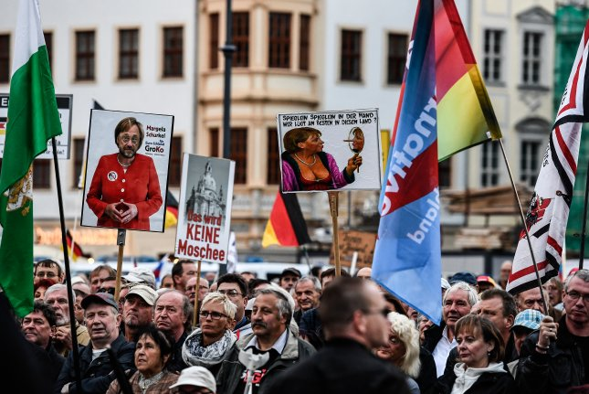 Populist and nativist movements, such as the 'Pegida' movement and German right-wing populist party Alternative for Germany, are often driven by economic declines and gulfs between haves and have-nots, researchers say. File Photo by Filip Singer/EPA-EFE