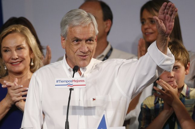 Sebastian Pinera, former president of Chile, was elected to another term in the country's run-off election on Sunday, defeating his opponent Alejandro Guillier. Photo by Elvis Gonzalez/EPA
