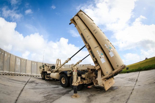 A Terminal High Altitude Area Defense ballistic missile system sits in position at Andersen Air Force Base, Guam, on February 5. Photo by Capt. Adan Cazarez/U.S. Army