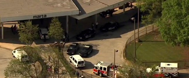 Authorities respond after reports of a shooting at the West Lake station Thursday in Atlanta. Image courtesy WSB-TV