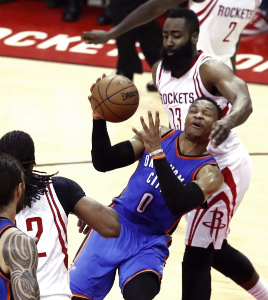 Russell Westbrook and the Oklahoma City Thunder face off against the Los Angeles Clippers on Friday. Photo by Larry W. Smith/EPA