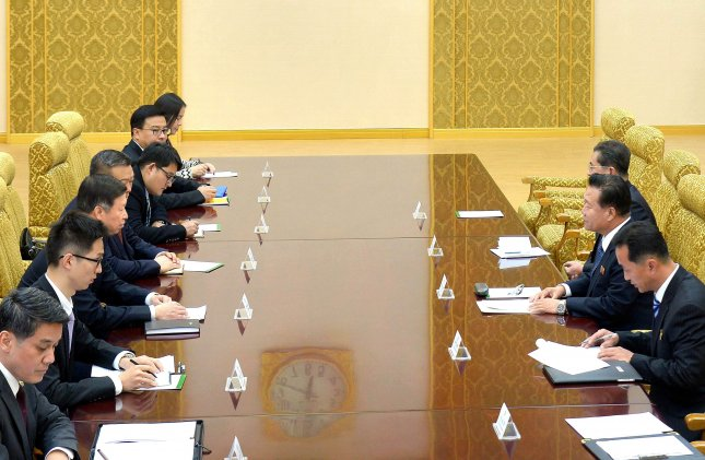 Song Tao (3-L), head of the International Liaison Department of the Central Committee of the Communist Party of China meets with Chinese diplomats during their meeting with North Korea in November 2017. Photo by KCNA.