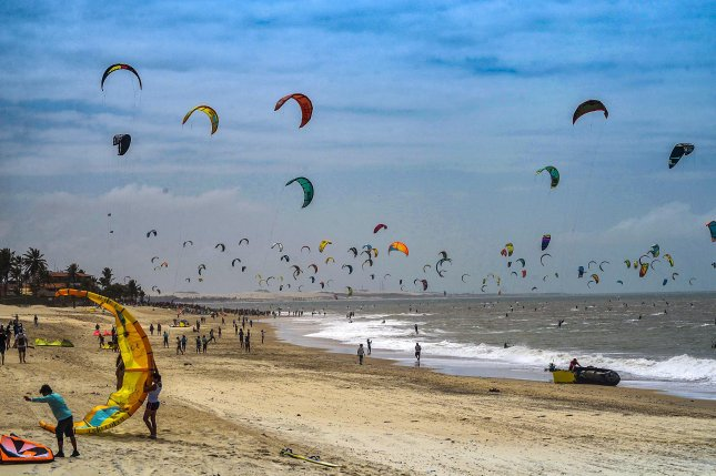Kitesurfers broke a Guinness World Record at Cumbuco Beach in Ceara, Brazil, Sunday when 596 people were counted kitesurfing simultaneously. Photo by Government of Ceara/EPA/EFE