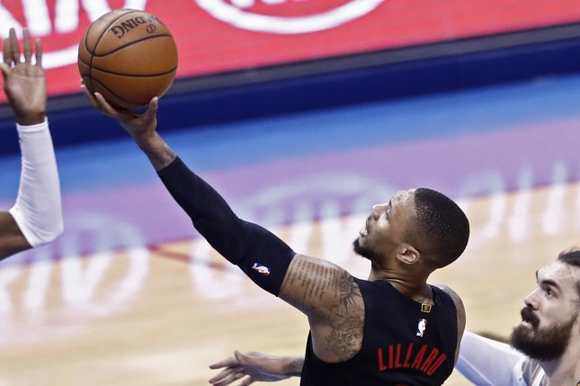 Portland Trail Blazers star Damian Lillard scored 18 of his 51 points in the fourth quarter in a win against the Philadelphia 76ers on Sunday in Orlando, Fla. Photo by Larry W. Smith/EPA-EFE