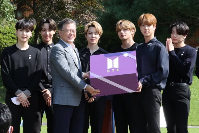 South Korea named K-pop band BTS as special presidential envoy on Wednesday, a role that will include appearing as official representatives at the United Nations General Assembly in September. File Photo by Yonhap/EPA-EFE
