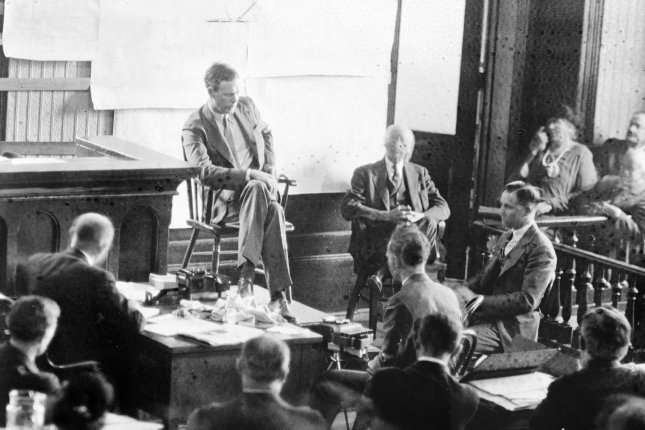 Charles A. Lindbergh is shown on the witness stand in the courtroom at Flemington as he told his dramatic story of the night of March 1, 1932, when his young son was kidnapped. File Photo by Library of Congress/UPI