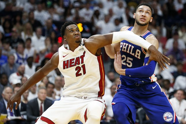 Miami Heat center Hassan Whiteside (21) averaged 12.3 points and 11.3 rebounds per game last season. File Photo by Rhona Wise/EPA-EFE