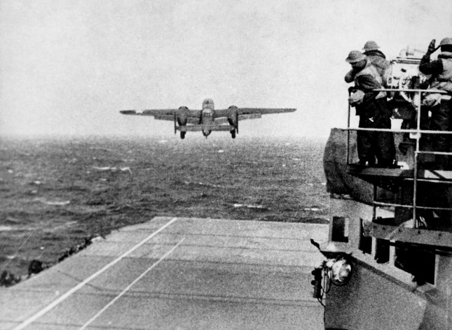 A U.S. Army Air Forces B-25B Mitchell bomber takes off from the USS Hornet (CV-8) aircraft carrier to take part in the first U.S. bombing of Japan on April 18, 1942. The surprise attack, retaliation for the Japanese raid on Pearl Harbor on December 7, 1941, would go down in history as the Doolittle Raid, named after the man who commanded it, Lt. Col. James Doolittle. Photo by NARA