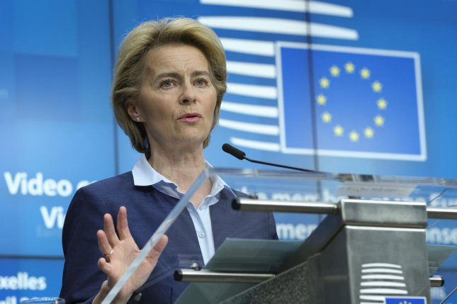 European Commission President Ursula von der Leyen speaks during a summit with European heads of state in Brussels, Belgium, on April 23. File Photo by Olivier Hoslet/EPA-EFE