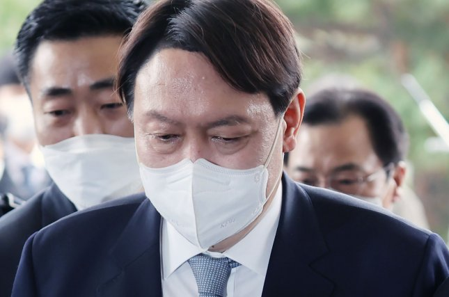 """South Korean presidential frontrunner Yoon Seok-youl suggested Monday that feminism was interfering in """"healthy relationships"""" between men and women, according to local press reports. File Photo by Yonhap/EPA-EFE"""