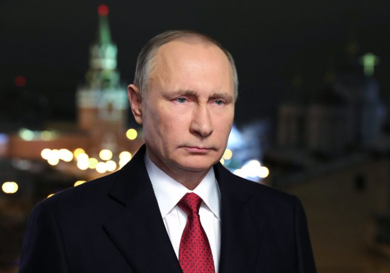 Russian President Vladimir Putin makes his New Year's at the Kremlin on December 31. Photo courtesy of Sputnik/European Pressphoto Agency