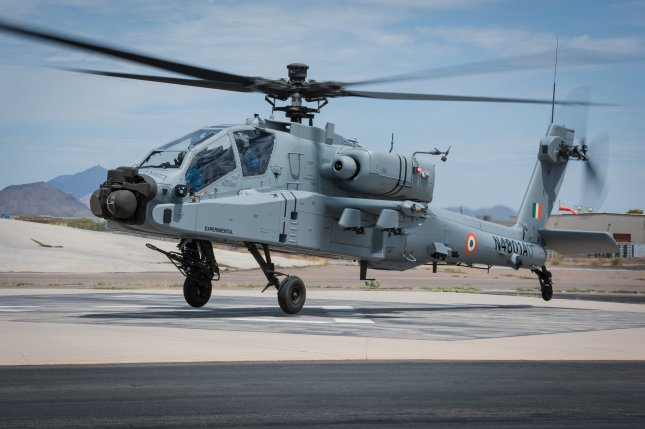 Boeing will work on AH-64E helicopters, such as the one shown here, for the Qatari air force under a new contract the U.S. Defense Department announced Wednesday. File Photo courtesy of Boeing