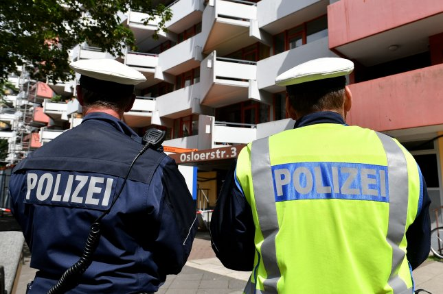 Police said the shooting Friday killed at least six people at a home and train station in Rot am See, Germany. File Photo by Sascha Steinbach/EPA-EFE